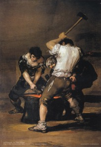 The painting THE FORGE (La fragua) by Spanish painter GOYA.
